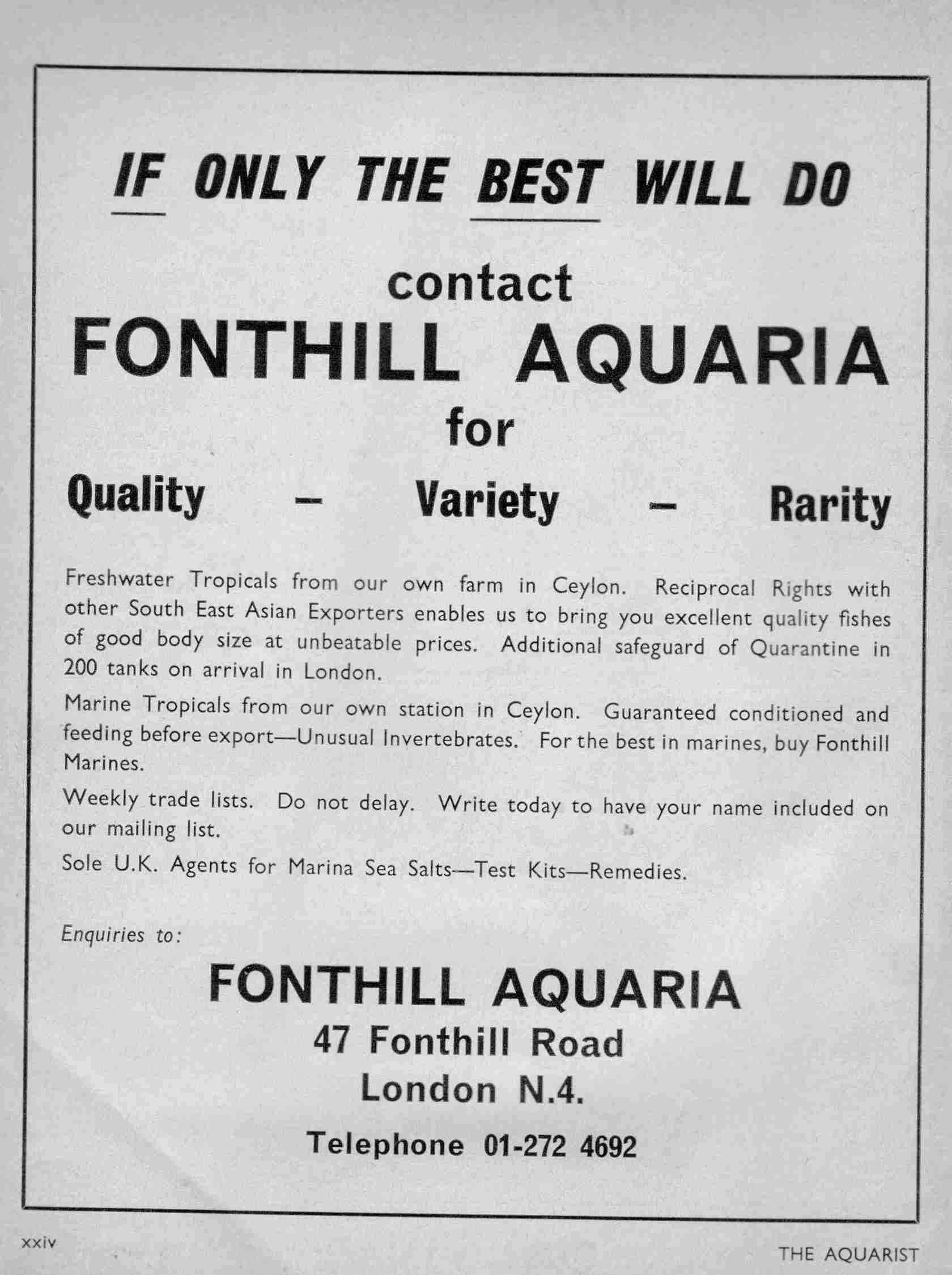 Advertisement from Fonthill Aquaria October 1969. Note sole agency for Marina 69C seasalt by Kraken